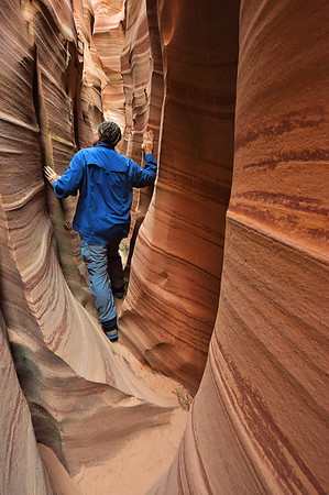 Exploring Zebra Slot Canyon Grand Staircase-Escalante National Monument, Utah.  Copyright © 2011 All rights reserved.