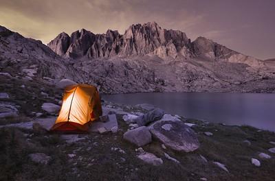 Camping at Upper Barrett Lake Kings Canyon National Park, California.  Copyright © 2012 All rights reserved.