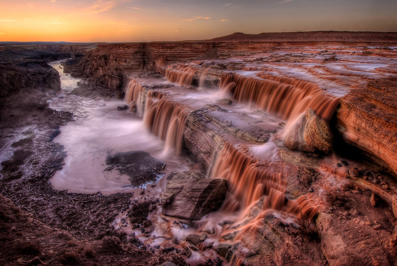 -WON PHOTOGRAPH FEATURE<br /> November 2012 @ Viewbug.com<br /> <br /> -2ND PLACE WINNER (January 2013)<br /> Long Exposure photography @<br /> Pictures2Win.com<br /> <br /> Grand Falls (Chocolate Falls) at Sunset<br /> Navajo Nation, Arizona.<br /> Copyright © 2008<br /> All rights reserved.