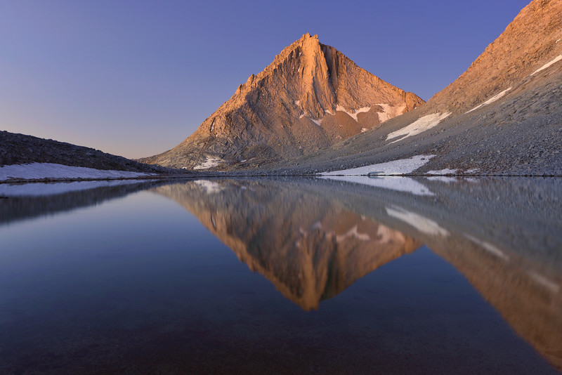 """-1ST PLACE WINNER <br /> Competition """"Reflections""""  <br /> @ Pictures2WIn.com (September 2012) <br /> <br /> Miriam Peak Reflected in Royce Lake<br /> Inyo National Forest, California.  <br /> Copyright © 2012<br /> All rights reserved."""