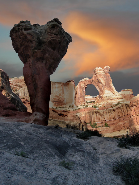 "PUBLISHED (August 8, 2010)<br /> San Diego Union Tribune ""Photographs From Afar""<br /> <br /> The Molar and Angel Arch (Sunrise)<br /> Canyonlands National Park, Utah.<br /> Copyright © 2007<br /> All rights reserved."