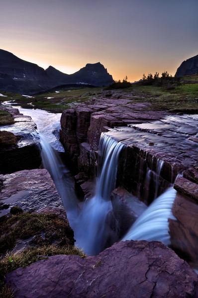 "-FINALIST<br /> Outdoor Photographer Magazine 2010 Art of Photography <br /> ""Conservation"" Category<br /> <br /> -SELECTED FOR EXHIBITION (March 2011)<br /> Theme ""Landscapes"" @ Softcanvas.com<br /> <br /> Triple Falls at Dawn<br /> Glacier National Park, Montana.<br /> Copyright © 2009<br /> All rights reserved."