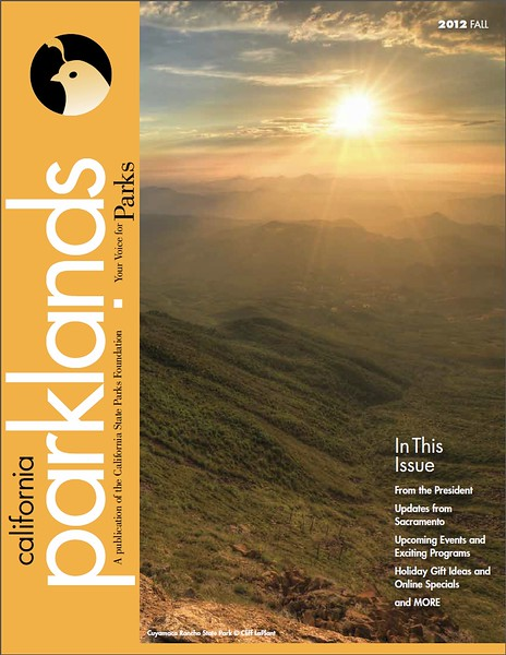 PUBLISHED (November 2012)<br /> California Parklands Magazine Cover<br /> Official Magazine of the California<br /> State Parks Foundation