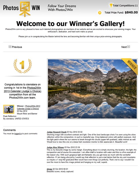 "1ST PLACE WINNER AND PUBLISHED (November 2012)<br /> <br /> Competition ""2013 Photos2WIn.com Calendar"" @ Photos2WIn.com.  This was an ""Open"" competition and this photograph was also published on the front cover of the calendar and is in the Photos2Win Annual photobook."