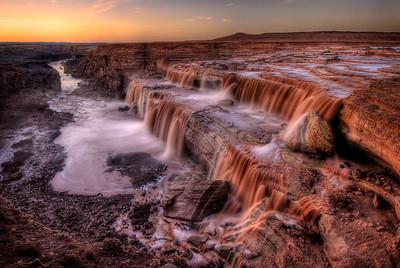 Grand Falls (Chocolate Falls) at Sunset Navajo Nation, Arizona. Copyright © 2008 All rights reserved.