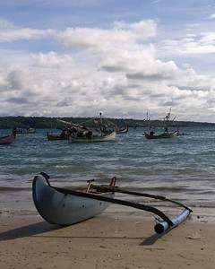 Beautiful beaches and colorful fishing boats on the exotic Island of Bali.