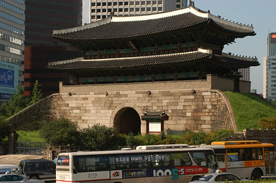 Center of the city, one of the original gates into the ancient city of Seoul, South Korea.
