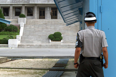 South Korean (ROK) soldier guarding the border, Pan Man Jan, DMZ (de-militarized zone between North and South Korea)