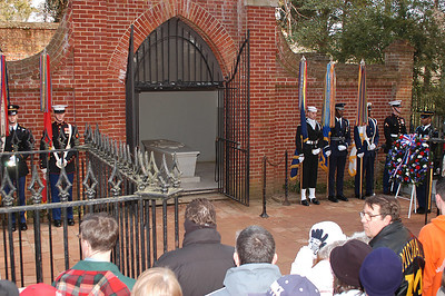 A wreath laying ceremony is performed at the tomb of George and Martha Washington, Mount Vernon.