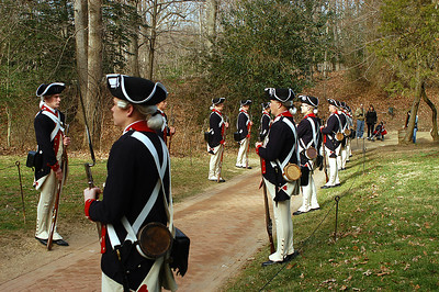 Continental soldier re-enactors gather for the president's day celebration and wreath laying ceremony at Mount Vernon, George Washington's home.