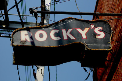 Rocky's famous shoe repair shop... love the sign...
