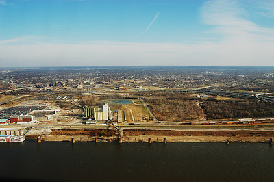 Illinois and the Mississippi river as seen from the top of the Arch.