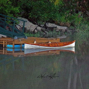While driving down River RD every morning on my way to work I noticed this beautiful Dory moored to the Maine Maritime Museum's pier on the Kennebec River. The picture called out to me for a week before I finally shot it early one morning in August 2004.