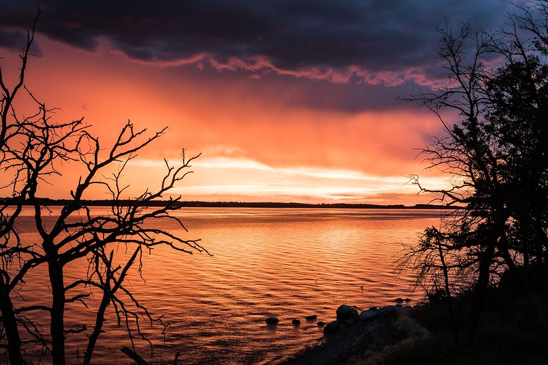 Stump lake Sunset in ND near SD Border
