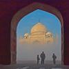 Viewing Taj Mahal in fog India