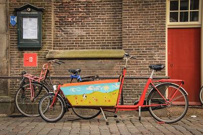 A Dutch freight bike. (bakfiets) Basket bicycle)