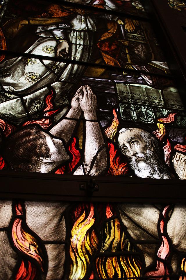 One of the many beautiful stain glass windows in St. Mary Magdalene Catholic Church in Omaha, Nebraska.