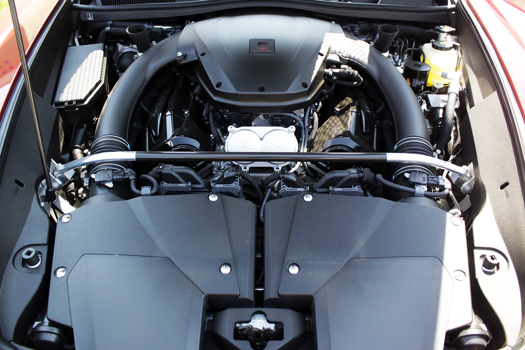 This is the V10 that puts out 563 bhp. And no turbo (those tubes coming off the engine are twin air intakes)