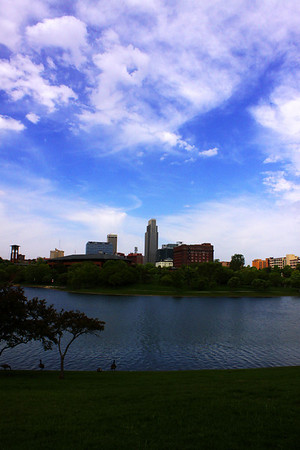 Downtown Omaha as seen from the east side of Heartland of America Park, home of ConAgra Foods' headquarters.