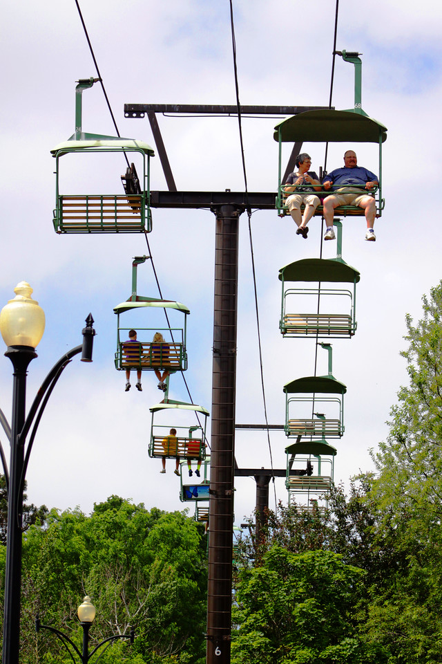 This is a ski lift installed at the Henry Doorly Zoo in Omaha, Nebraska, and transports people from the west side to the east side of the zoo.