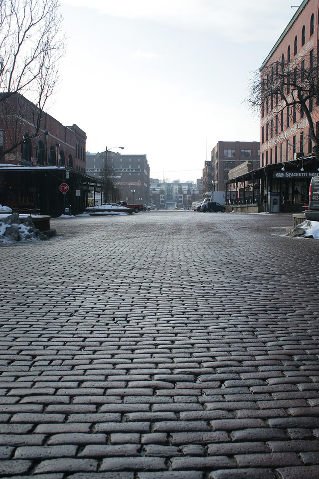 The Old Market section of downtown Omaha, facing south.