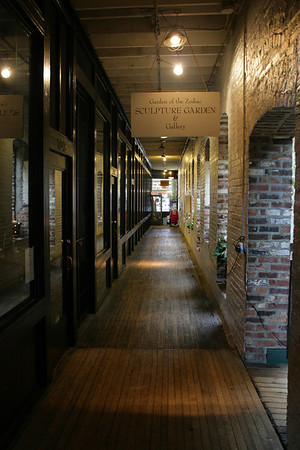 The second-floor hallway inside of the Old Market passageway in downtown Omaha.
