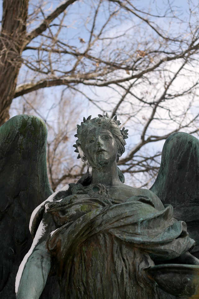 Front view of the Black Angel memorial in Council Bluffs, Iowa.