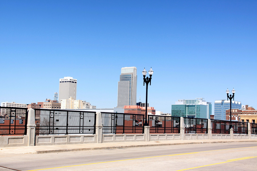 Skyline of Omaha, seen southeast of downtown.