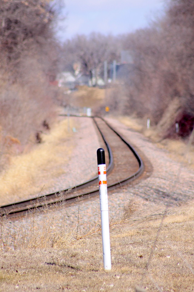 Railroad tracks on 48th Street north of Harrison St. in Omaha.