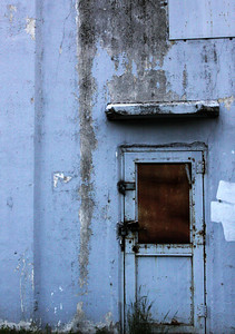 A door that leads to the top of a grain tower off 36th and I-80 in Omaha, Nebraska.