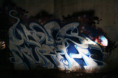 A beautiful piece of grafitti inside an abandoned grain silo at 36th Street and Interstate 80 in Omaha, Nebraska.