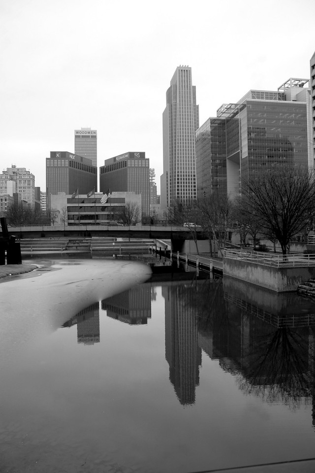 Downtown Omaha from the Gene Leahy Mall. I know this is probably the most taken picture of Omaha, but I've never seen it with ice on the water (on the left), and surprisingly, I've never seen it in black and white.
