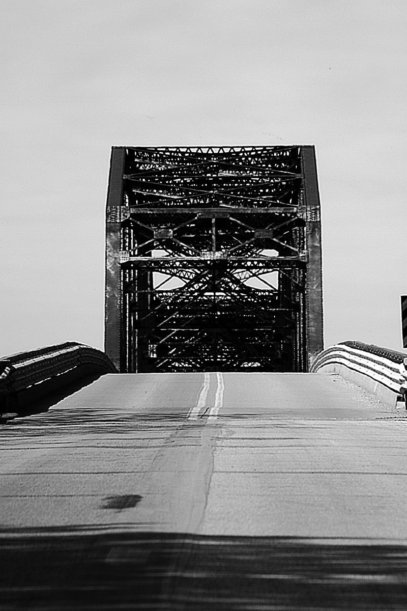 Yes, I was stupid and ran into the middle of the highway on the Iowa side to capture a picture of the Mission Road/Highway 370 bridge that connects Iowa and Nebraska and spans the Missouri River. I failed to see the semi truck 500 feet behind me when I took this.