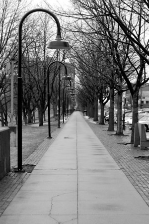 Sidewalk view, south of Gene Leahy Mall in downtown Omaha.