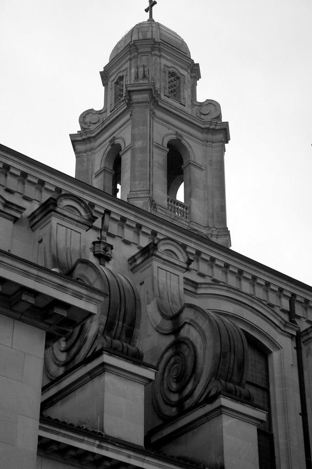 The south tower and flying buttresses of the St. Cecilia Cathedral in north Omaha.