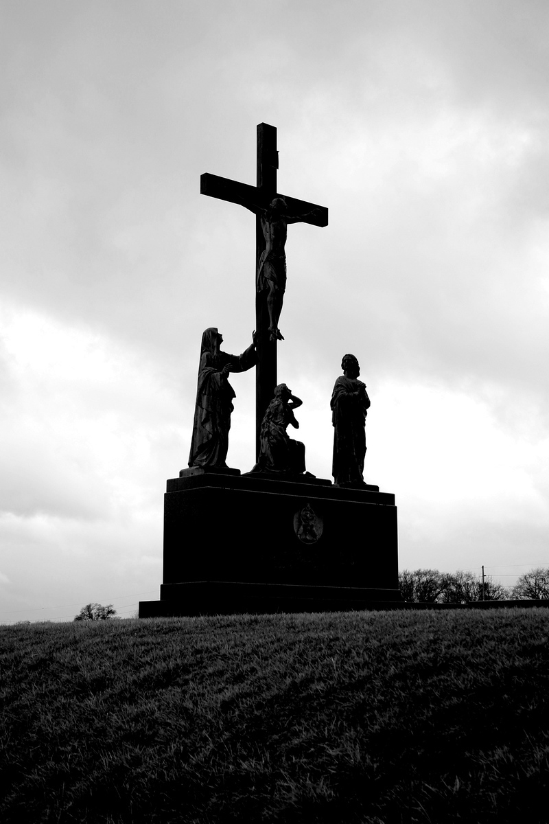Crucifixion of Christ monument at St. Mary Magdalene Cemetery at 48th and Q Streets in Omaha.