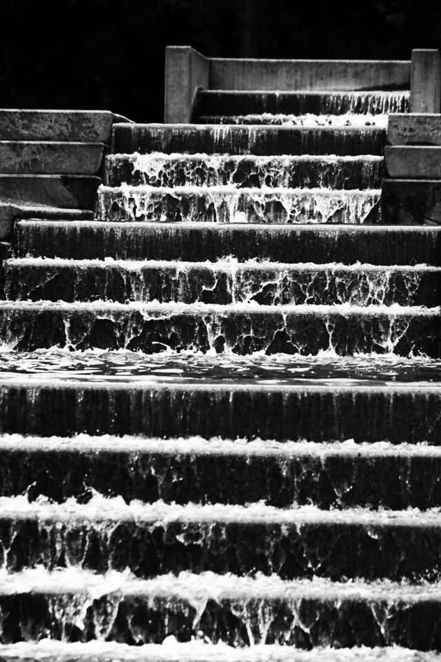 A waterfall of stairs at the Gene Leahy Mall in downtown Omaha, Nebraska.