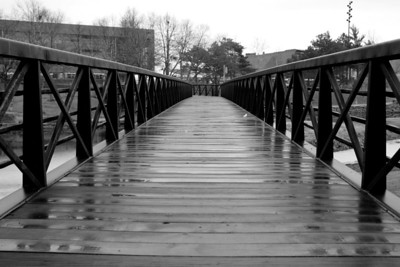 Wooden pedestrian bridge over the Gene Leahy Mall in downtown Omaha.