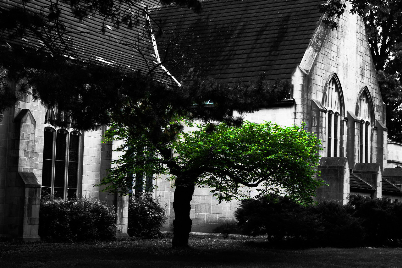 The west side of the Boys Town Catholic Church in Omaha, Nebraska.