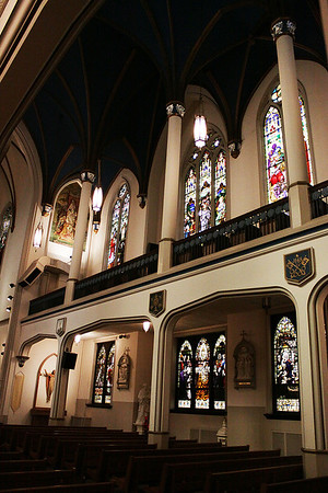 A view of the many stain glass windows in St. Mary Magdalene Catholic Church.