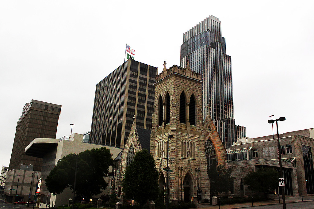 Taken from the intersection of 18th and Capital Streets in downtown Omaha, Nebraska, the Doubletree Hotel, First National building, Trinity Episcopal Cathedral, and the First National Tower.