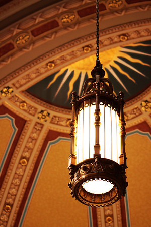 One of the front lights near the domed section of St. Cecilia's Cathedral.
