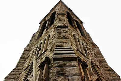 The northwest corner of the Trinity Episcopal Cathedral looking up in Omaha, Nebraska.
