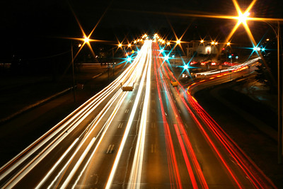 A 15-second exposure of traffic on Dodge Street facing east near University of Nebraska at Omaha.