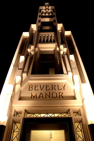 Close up of Beverly Manor Apartments in midtown Omaha.