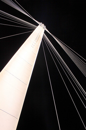 Looking straight up the west tower of the Bob Kerry Pedestrian Bridge crossing the Missouri River in Omaha, Nebraska.