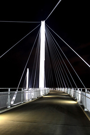 The Bob Kerry Pedestrian Bridge crosses the Missouri River and connects Council Bluffs, Ia. with Omaha.