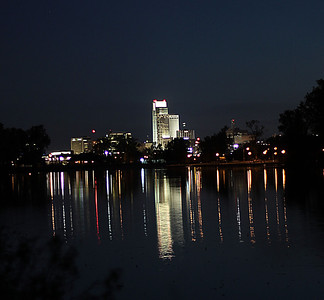 Downtown Omaha's skyline and reflection off Carter Lake in Carter Lake, Iowa.