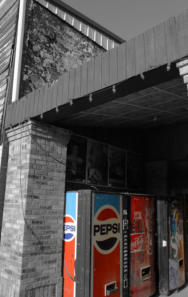 Old pop machines tucked away on the main street in Louisville.