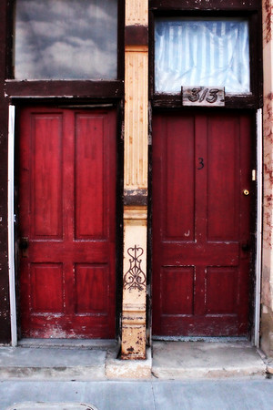 Unfinished doors in downtown historic Plattsmouth, Nebraska.